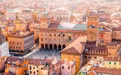 Aerial view from the tower in Bologna old town center.