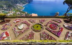Intricate flower gardens in the Villa Rufolo in Italy
