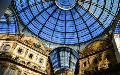 Upward view of the glass dome in Galleria Vittorio Emanuele II in Milan, Italy