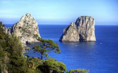 View of Capri cliffs and coastline in Italy