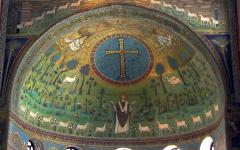 Close up view of paintings of the Basilica di Sant'Apollinare in Classe in Ravenna, Italy