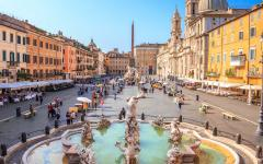 View of the fountain in the Piazza Navona in Rome, Italy