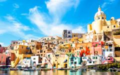 Colorful buildings on Procida Island in the Gulf Naples