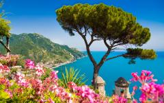 Scenic view of the ocean from the town of Ravello, Italy