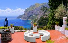 Luxurious terrace on the coast of Capri, Italy