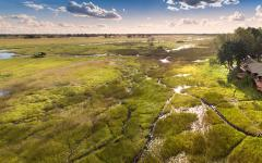 Aerial panoramic view of Duba Plains Suites. Photo courtesy of Great Plains Conservation.