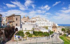 View of streets and buildings in the city of Ostuni, Italy