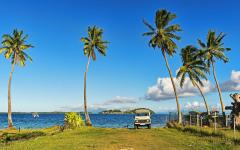 jeep driving onto grassy beach with blue sky and palm trees