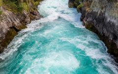 new zealand huka falls taupo north island blue water river
