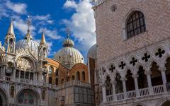 Close up of Doge's Palace in Venice, Italy