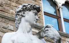 Close up of marble statue of David in Tuscany, Italy