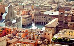 View of the Piazza Maggiore square in Bologna, Italy