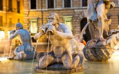Close up view of the Piazza Novana Fountain in Rome, Italy