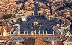 View of St. Peter's Square of Vatican City in Rome, Italy