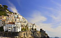 View of the Amalfi Coast with the city of Atrani on the hillside in Italy