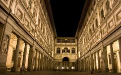 Nighttime, outside view of the art museum Uffizi Gallery in Florence, Italy