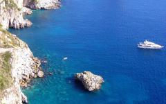 Rocky cliffside of Capri Island in Italy