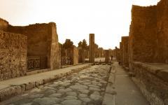 Stone path leading to some Pompeii ruins | Aftermath of Mount Vesuvius eruption