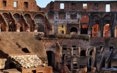 Interior view of the Rome Colosseum in Italy