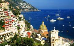 View of the colorful buildings and ocean of Positano, a cliffside village in the Amalfi Coast, Italy