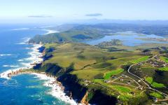 Aerial shot of the Knysna Heads in Cape Town, South Africa