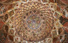 Intricate artwork on the inside of the Taj Mahl located in Agra India