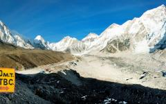 Himalayan Everest evening view panorama.