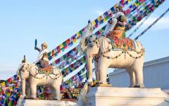 Statues near buddhist boud hanath stupain kathmandu.