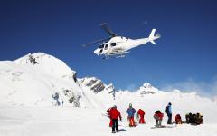 Heli-skiing in winter.