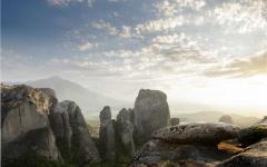Rocky view of Meteora in Greece at sunset