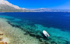 The Croatian coastline with pristine blue water.