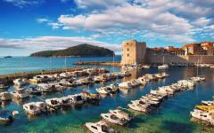 The harbor in Dubrovnik city in Croatia.