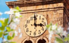 The clock tower in Cavtat, Croatia.