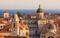 Overlooking the rooftops of Dubrovnik's old town on the Adriatic coast, Croatia.