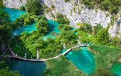 Meandering path through Plitvice National Park in Croatia.