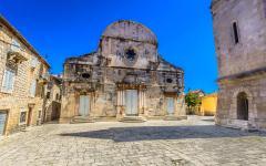 A marble building in the center of Stari Grad in Croatia.