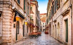 View of an old street in Dubrovnik, Croatia.