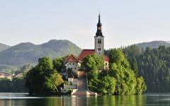 The church on Bled island in Slovenia.
