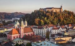 Ljubljana castle stands on Castle Hill in Slovenia.