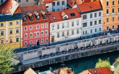 View of colorful houses in Ljubljana, Croatia.