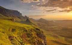 Sunrise over the Quiraing on the Isle of Skye in Scotland
