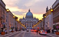 View of Saint Peter's Basilica at dawn in Vatican City, Rome, Italy