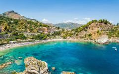 View of a beach on the island of Isola Bella in Sicily