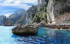 Scenic view of the rocky coastline and cliffs of Capri, Italy