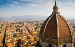 Bird's eye view of a cathedral and town in Florence, Italy
