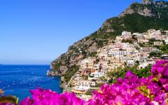 View of the Amalfi Coast and the village of Positano, Italy