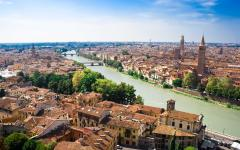 Aerial view of the Adige River in Verona, Italy