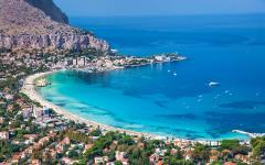 Gorgeous aerial view of the beach town of Mondello, Italy