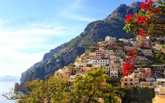 Colorful view of the Positano Village on the Amalfi Coast in Italy