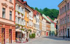 Colorful houses in Ljubljana, Croatia.